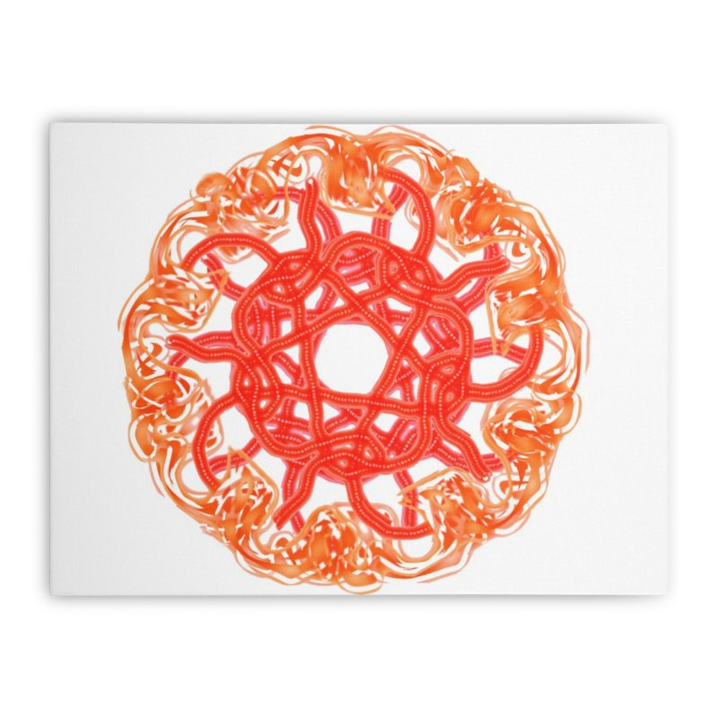 Orange Sunburst Home Stretched Canvas by dotdotdottshirts's and textiles Artist Shop