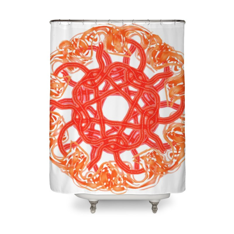 Orange Sunburst Home Shower Curtain by dotdotdottshirts's and textiles Artist Shop