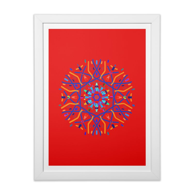 Orange Blue and Turquoise Starburst Home Framed Fine Art Print by dotdotdottshirts's Artist Shop