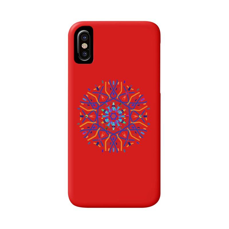 Orange Blue and Turquoise Starburst Accessories Phone Case by dotdotdottshirts's Artist Shop