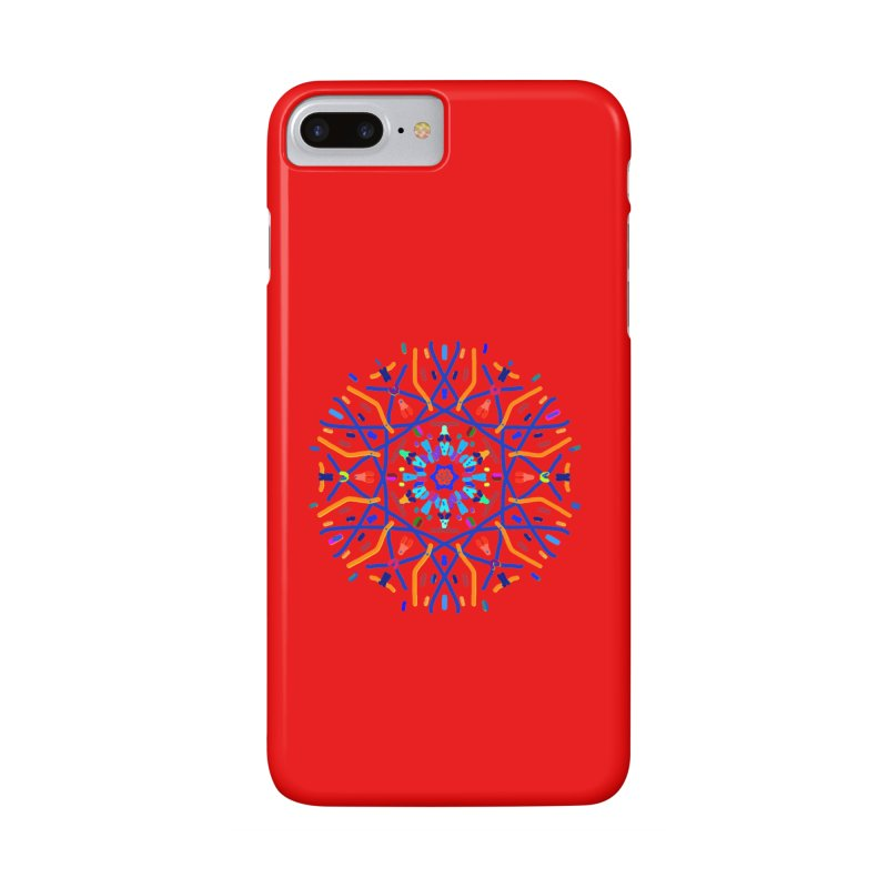 Orange Blue and Turquoise Starburst Accessories Phone Case by dotdotdottshirts's Artist Shop