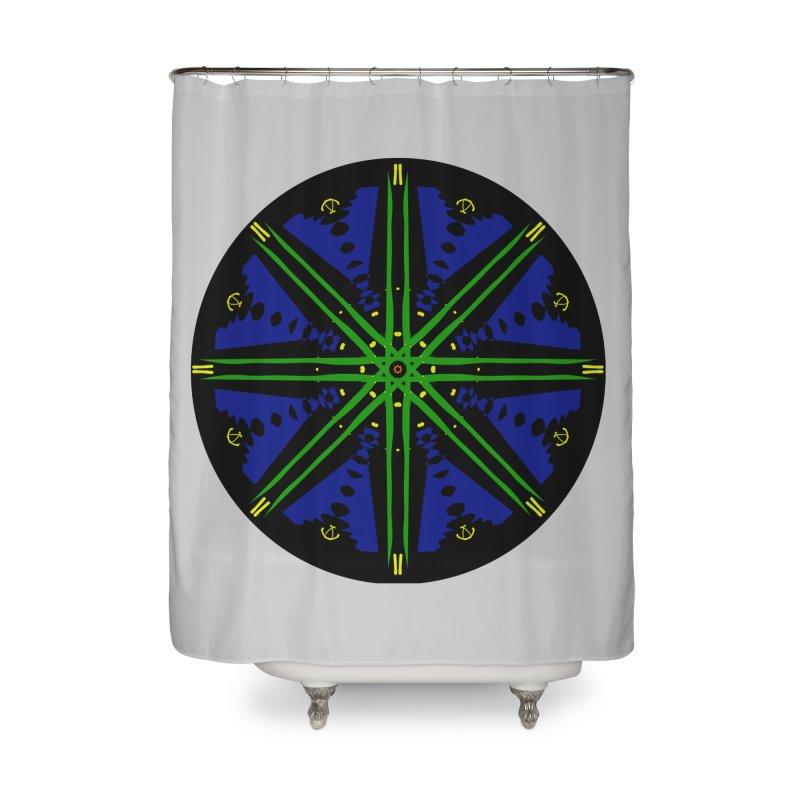 Starship Blue Green  Home Shower Curtain by dotdotdottshirts's and textiles Artist Shop