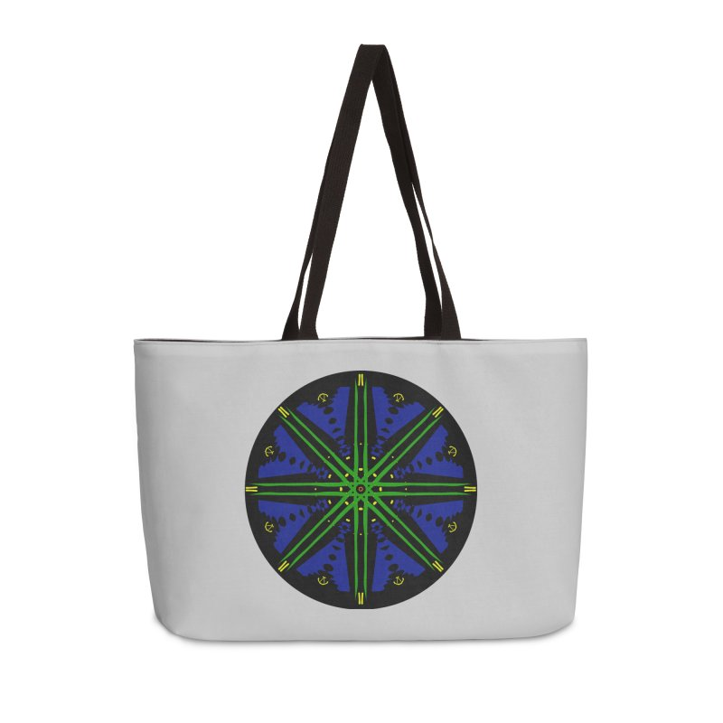 Starship Blue Green  Accessories Weekender Bag Bag by dotdotdottshirts's and textiles Artist Shop