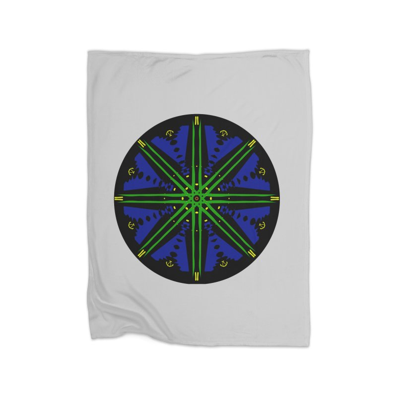 Starship Blue Green  Home Fleece Blanket Blanket by dotdotdottshirts's and textiles Artist Shop