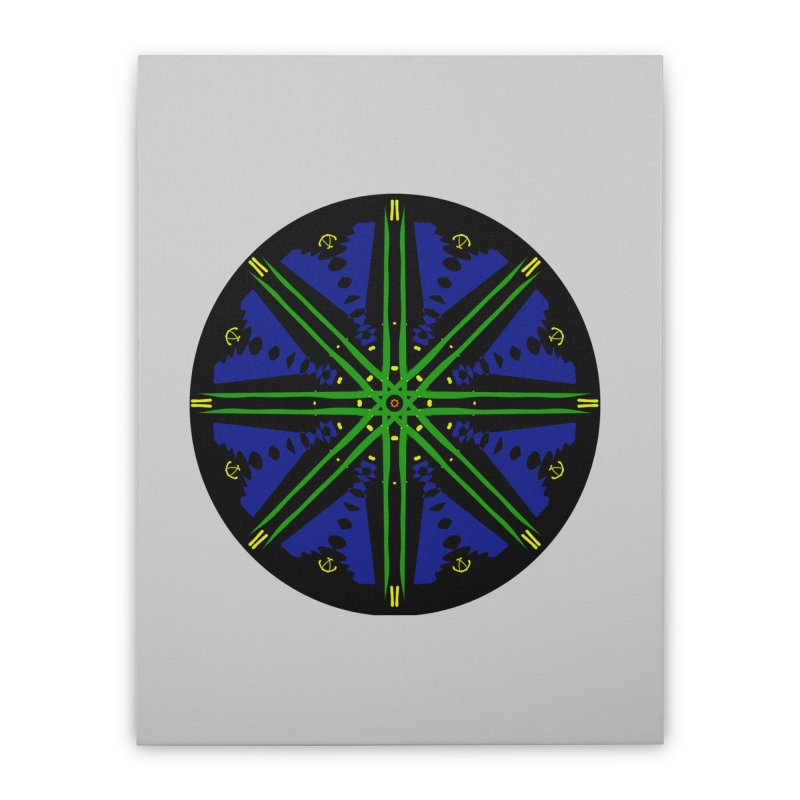 Starship Blue Green  Home Stretched Canvas by dotdotdottshirts's and textiles Artist Shop