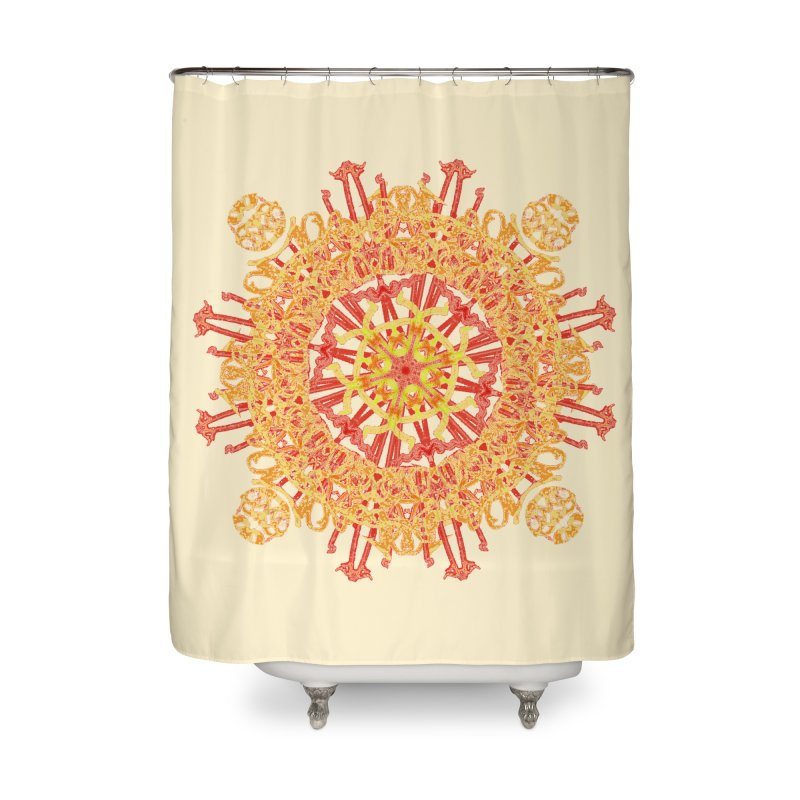 Red and Yellow Royal Lace Home Shower Curtain by dotdotdottshirts's and textiles Artist Shop