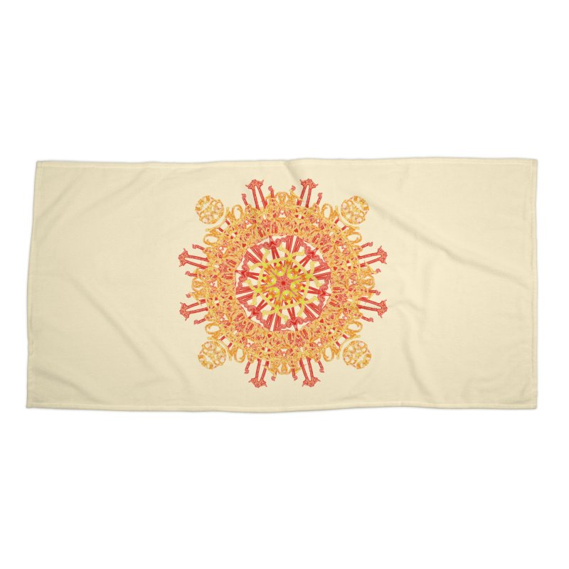 Red and Yellow Royal Lace Accessories Beach Towel by dotdotdottshirts's and textiles Artist Shop