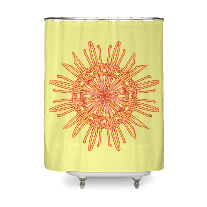 Red and Yellow Lace Companion Home Shower Curtain by dotdotdottshirts's and textiles Artist Shop