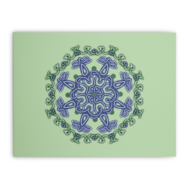 Blue and Green Pansy Home Stretched Canvas by dotdotdottshirts's Artist Shop