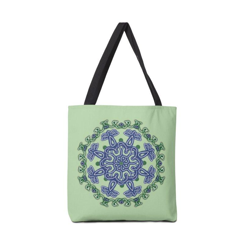 Blue and Green Pansy Accessories Bag by dotdotdottshirts's Artist Shop