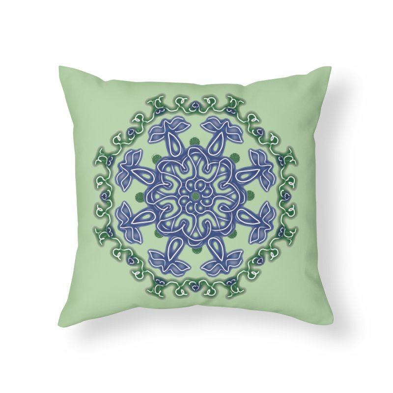 Blue and Green Pansy Home Throw Pillow by dotdotdottshirts's Artist Shop