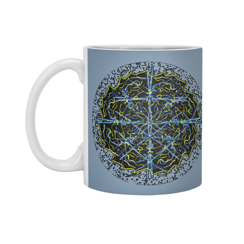 Blue and Yellow Cosmic Lightning Accessories Mug by dotdotdottshirts's Artist Shop