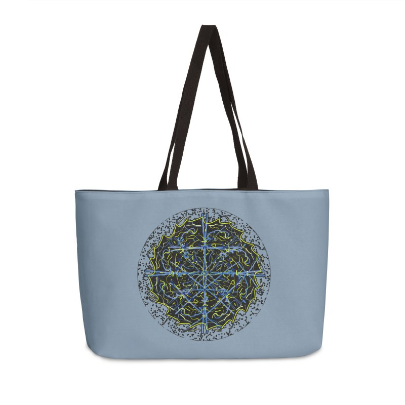 Blue and Yellow Cosmic Lightning Accessories Weekender Bag Bag by dotdotdottshirts's and textiles Artist Shop