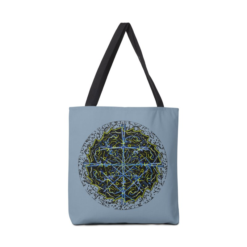 Blue and Yellow Cosmic Lightning Accessories Bag by dotdotdottshirts's and textiles Artist Shop