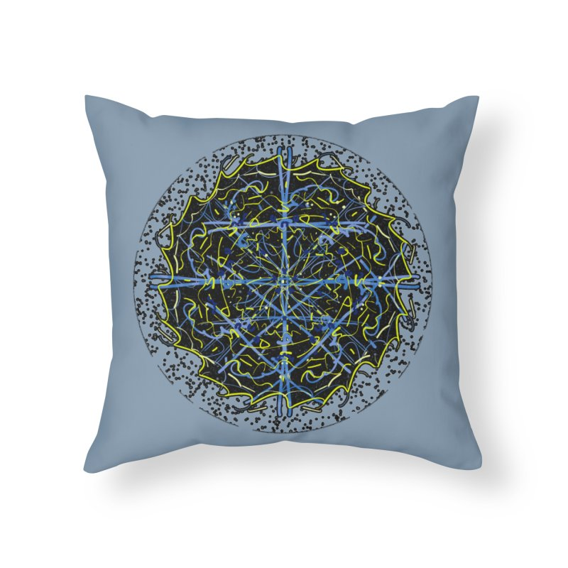 Blue and Yellow Cosmic Lightning Home Throw Pillow by dotdotdottshirts's Artist Shop