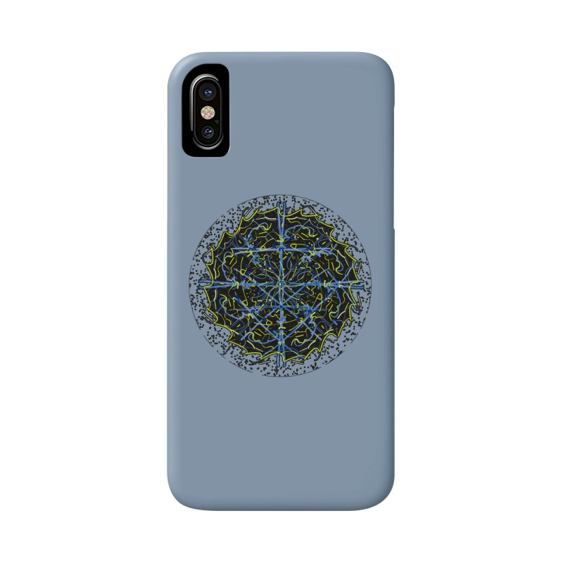 Blue and Yellow Cosmic Lightning Accessories Phone Case by dotdotdottshirts's and textiles Artist Shop