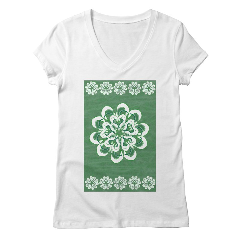 Green Irish Floral Women's V-Neck by dotdotdottshirts's Artist Shop