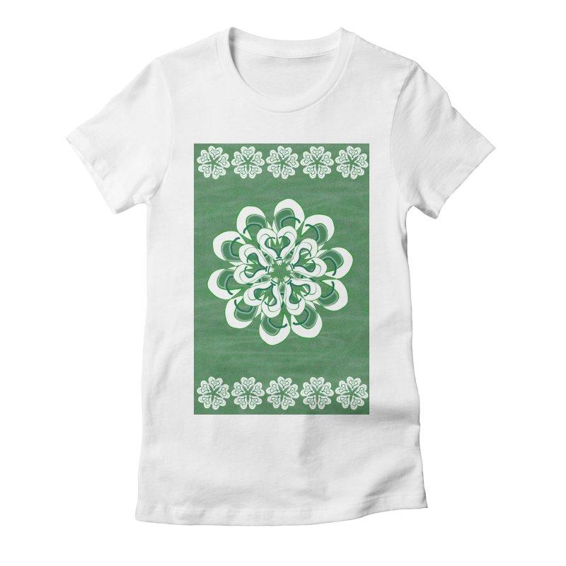 Green Irish Floral Women's Fitted T-Shirt by dotdotdottshirts's Artist Shop
