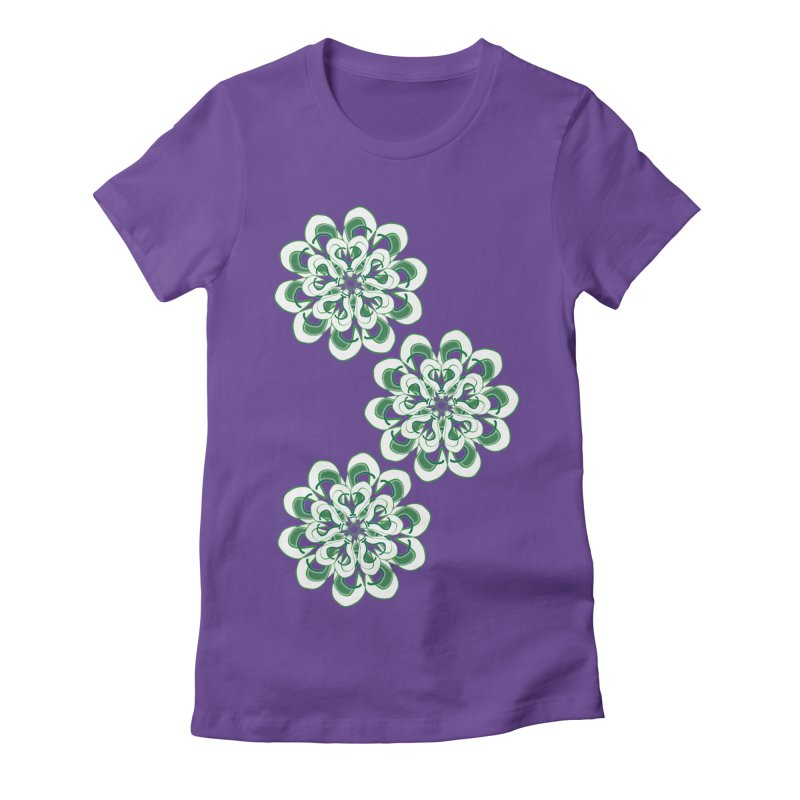 Shamrock Green Floral Women's Fitted T-Shirt by dotdotdottshirts's Artist Shop