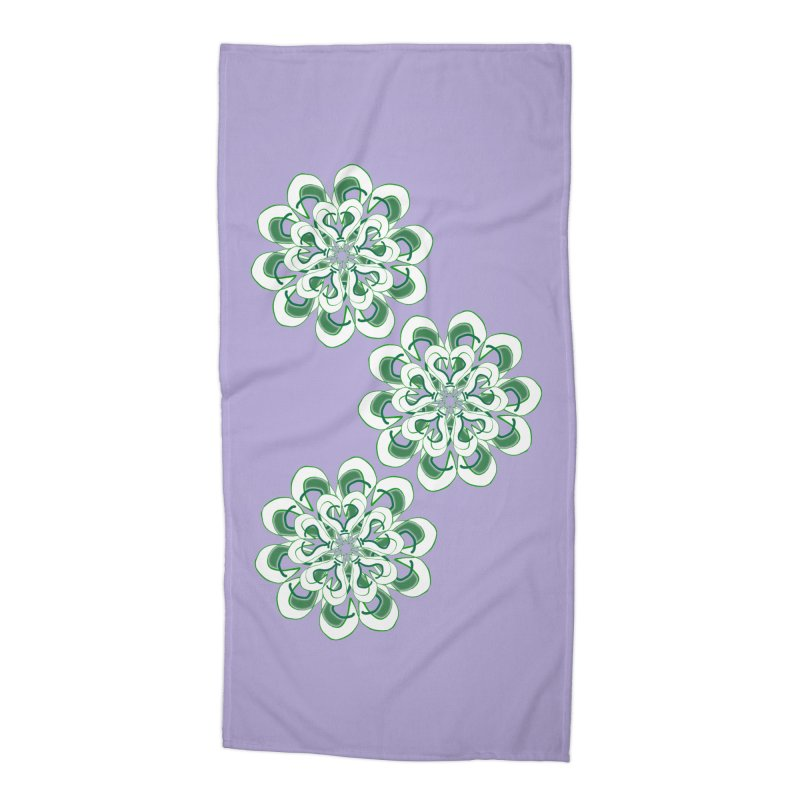 Shamrock Green Floral Accessories Beach Towel by dotdotdottshirts's Artist Shop