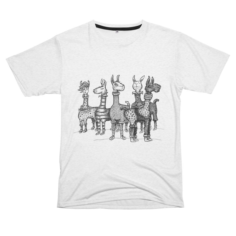 Llamas in Pajamas by dotsofpaint Men's French Terry T-Shirt Cut & Sew by dotsofpaint threads