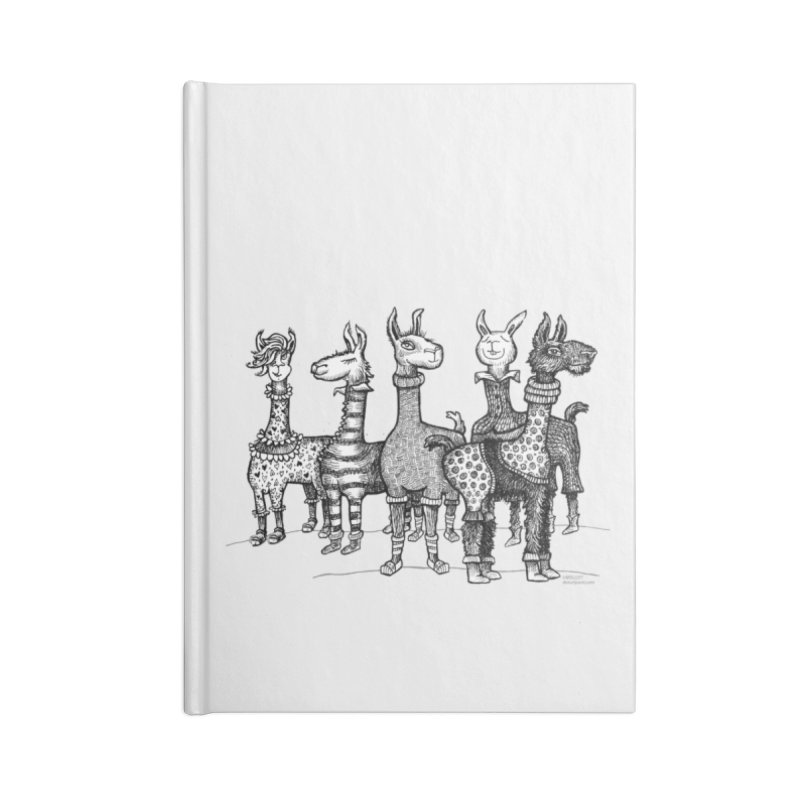 Llamas in Pajamas by dotsofpaint Accessories Lined Journal Notebook by dotsofpaint threads
