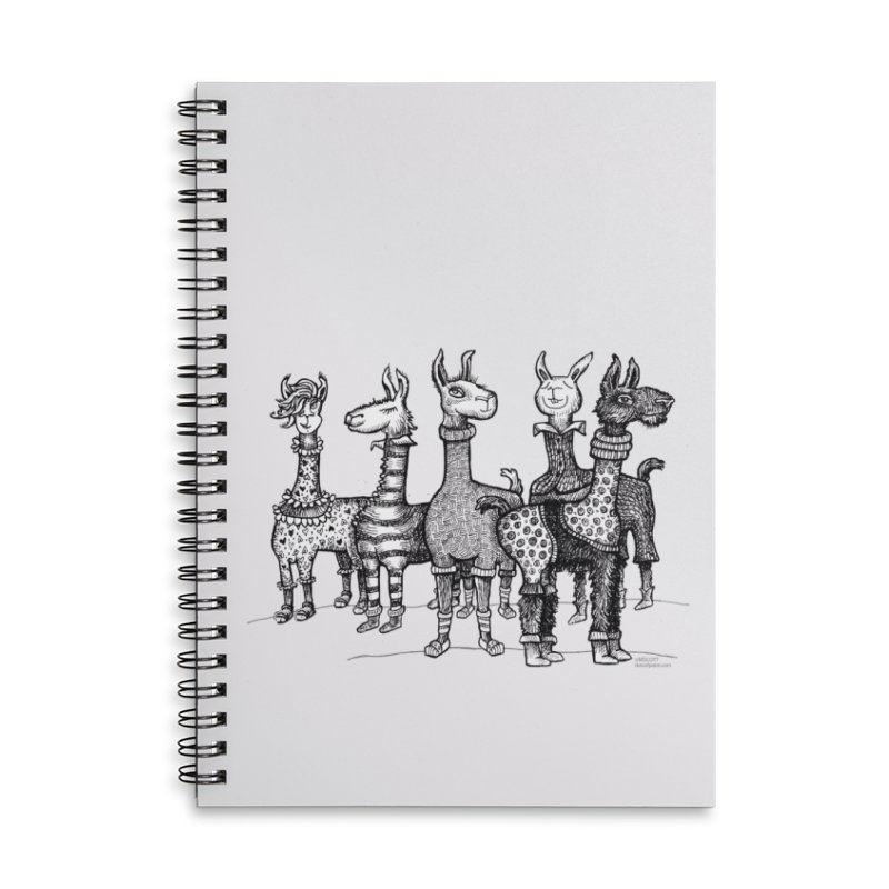Llamas in Pajamas by dotsofpaint Accessories Lined Spiral Notebook by dotsofpaint threads