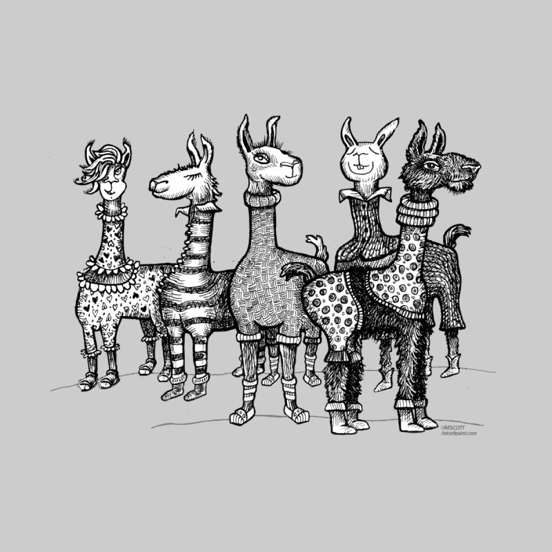 Llamas in Pajamas by dotsofpaint Home Stretched Canvas by dotsofpaint threads