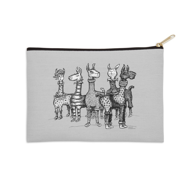 Llamas in Pajamas by dotsofpaint Accessories Zip Pouch by dotsofpaint threads