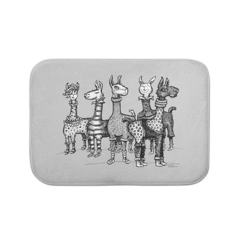 Llamas in Pajamas by dotsofpaint Home Bath Mat by dotsofpaint threads
