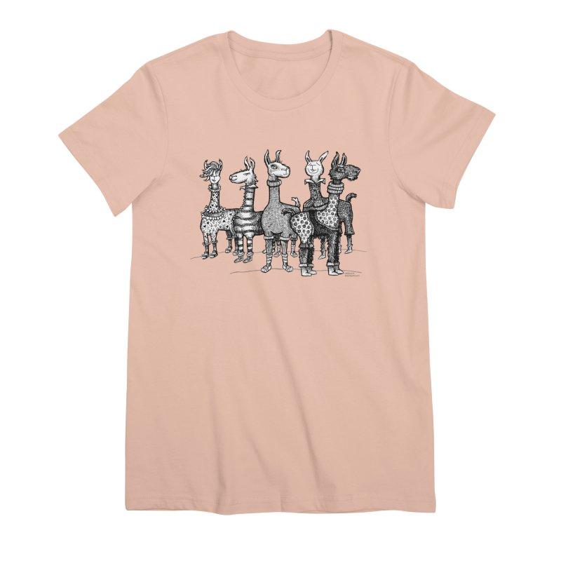Llamas in Pajamas by dotsofpaint Women's Premium T-Shirt by dotsofpaint threads