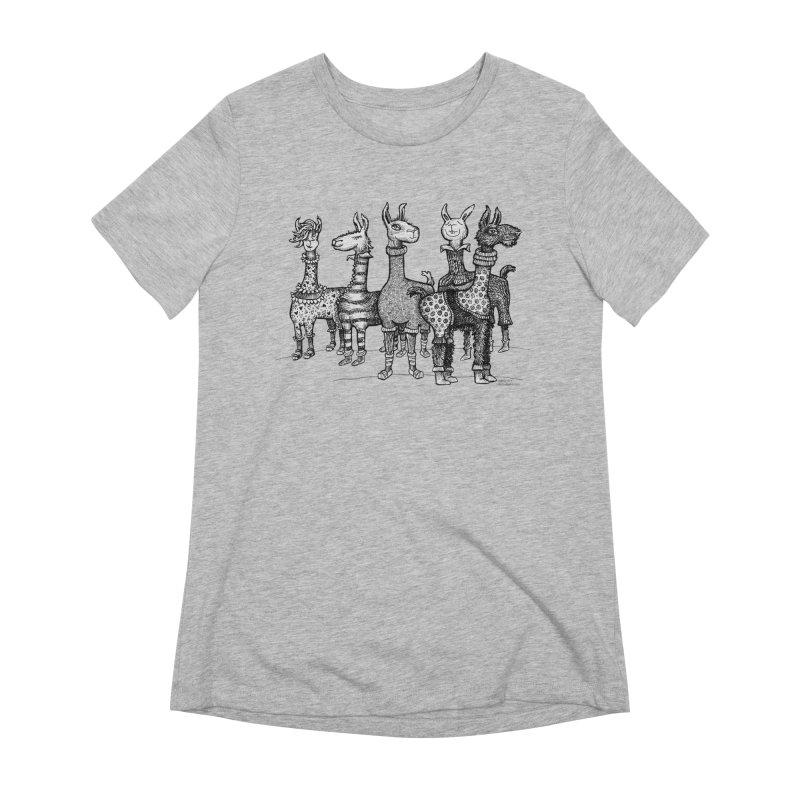 Llamas in Pajamas by dotsofpaint Women's Extra Soft T-Shirt by dotsofpaint threads