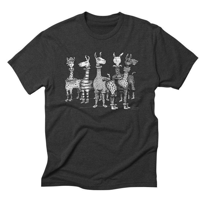 Llamas in Pajamas by dotsofpaint Men's Triblend T-Shirt by dotsofpaint threads
