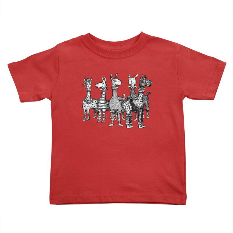 Llamas in Pajamas by dotsofpaint Kids Toddler T-Shirt by dotsofpaint threads