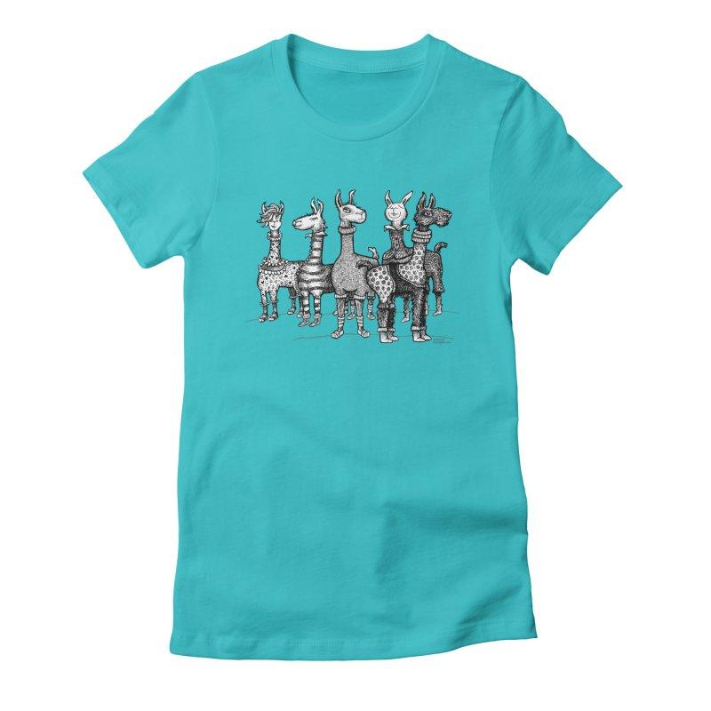 Llamas in Pajamas by dotsofpaint Women's T-Shirt by dotsofpaint threads