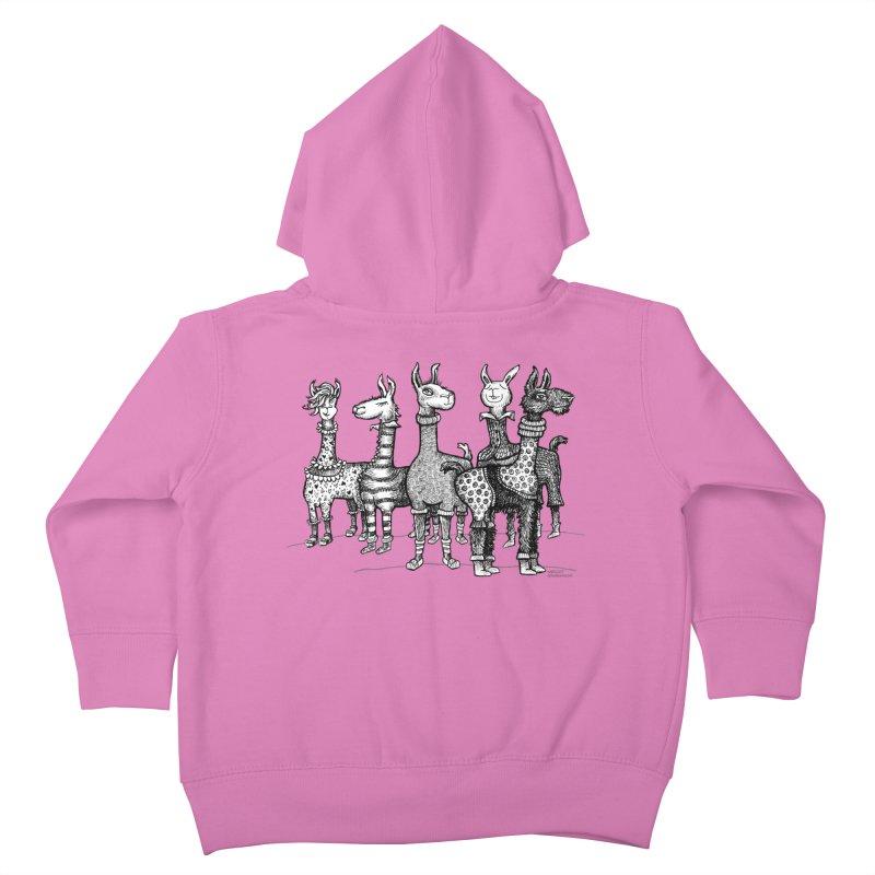 Llamas in Pajamas by dotsofpaint Kids Toddler Zip-Up Hoody by dotsofpaint threads