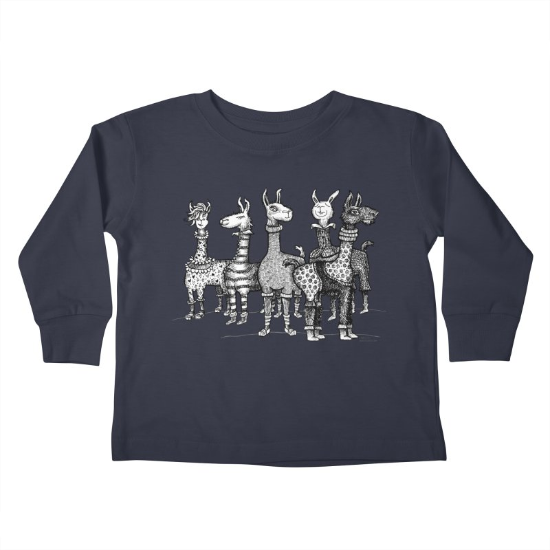 Llamas in Pajamas by dotsofpaint Kids Toddler Longsleeve T-Shirt by dotsofpaint threads