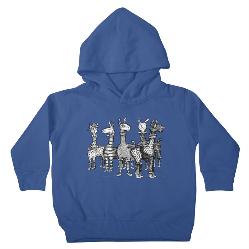 Llamas in Pajamas by dotsofpaint Kids Toddler Pullover Hoody by dotsofpaint threads