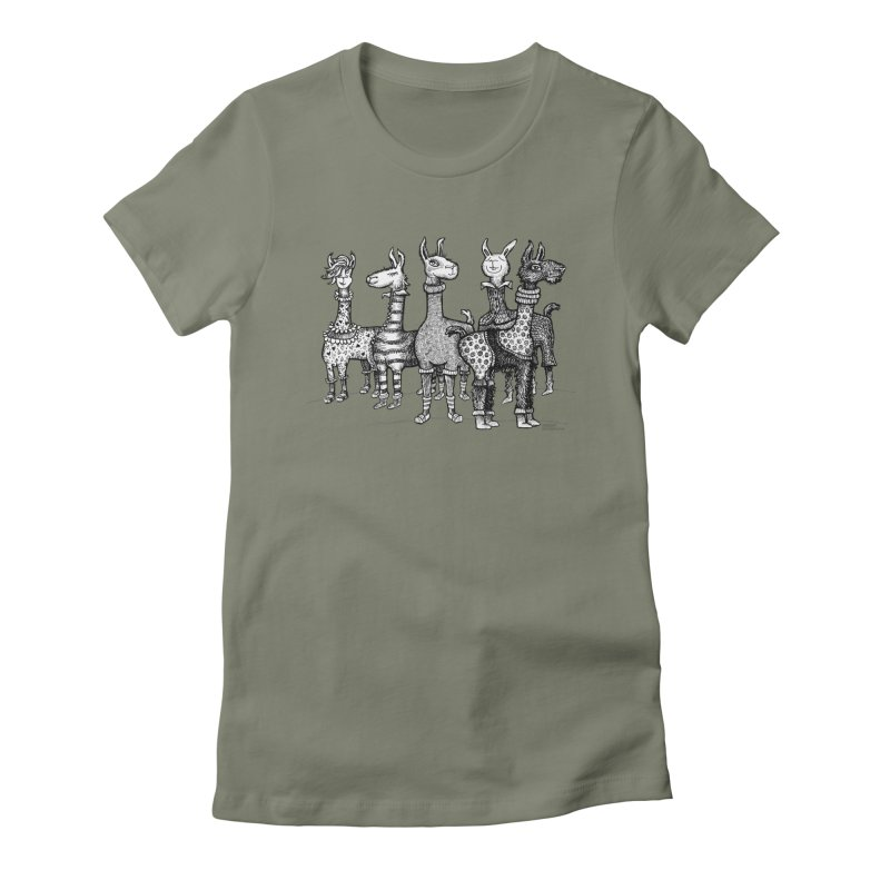 Llamas in Pajamas by dotsofpaint Women's Fitted T-Shirt by dotsofpaint threads
