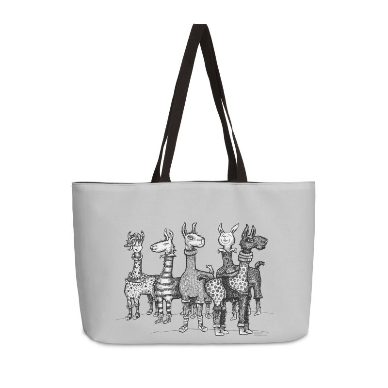 Llamas in Pajamas by dotsofpaint Accessories Weekender Bag Bag by dotsofpaint threads