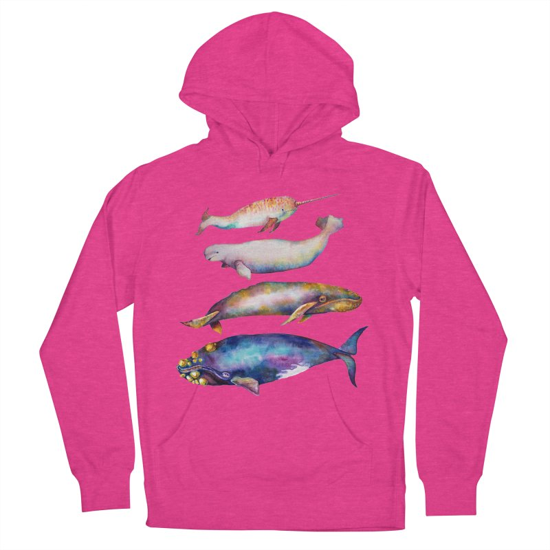 4 Watercolor Whales Women's French Terry Pullover Hoody by dotsofpaint threads