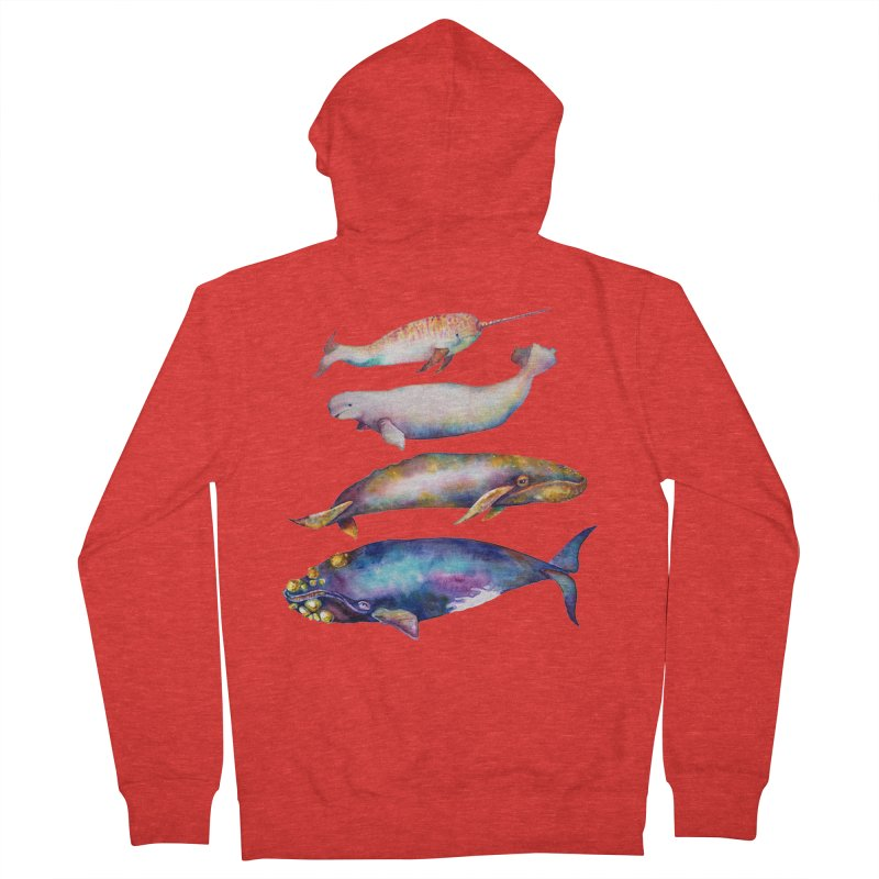 4 Watercolor Whales Men's Zip-Up Hoody by dotsofpaint threads