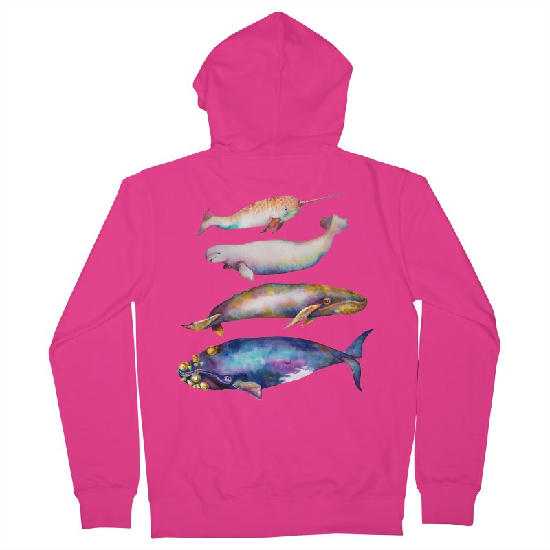 4 Watercolor Whales Men's French Terry Zip-Up Hoody by dotsofpaint threads