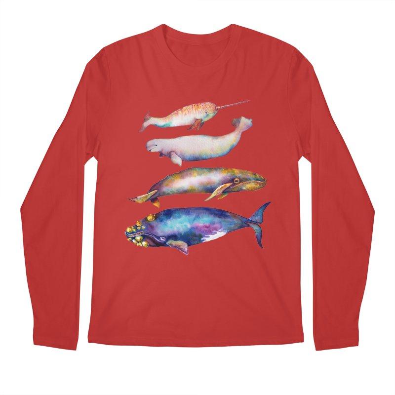 4 Watercolor Whales Men's Regular Longsleeve T-Shirt by dotsofpaint threads