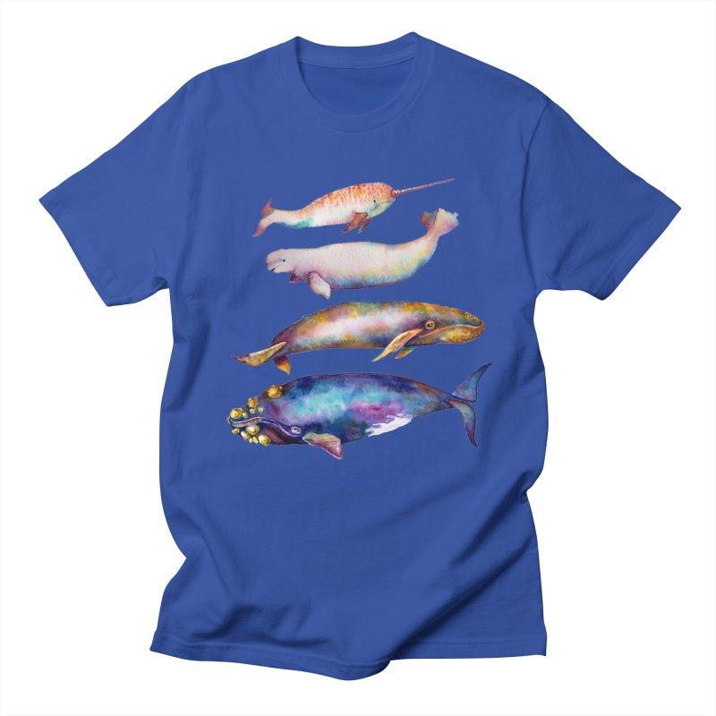 4 Watercolor Whales Women's Regular Unisex T-Shirt by dotsofpaint threads