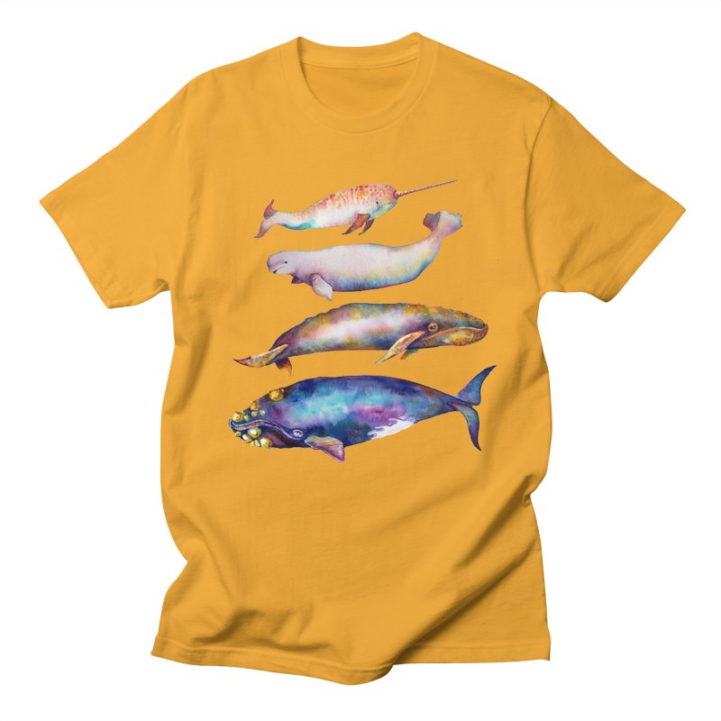 4 Watercolor Whales Men's T-Shirt by dotsofpaint threads