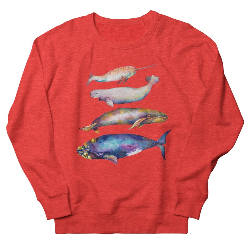 4 Watercolor Whales Men's Sweatshirt by dotsofpaint threads