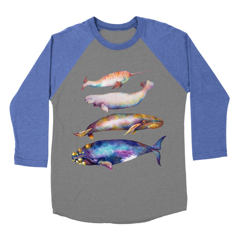 4 Watercolor Whales Men's Baseball Triblend Longsleeve T-Shirt by dotsofpaint threads