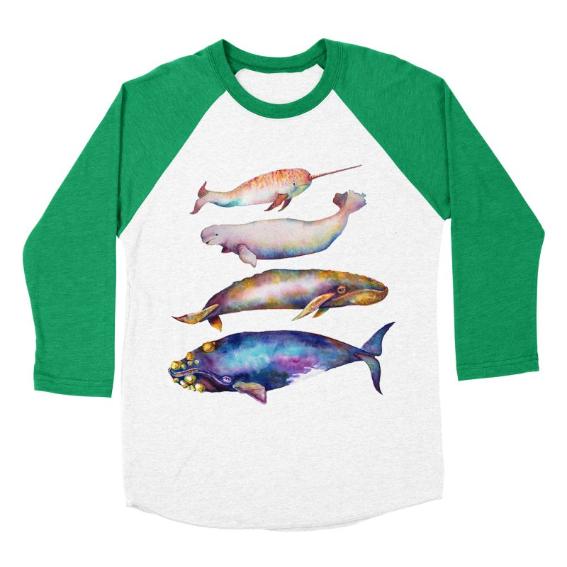 4 Watercolor Whales Men's Baseball Triblend Longsleeve T-Shirt by dotsofpaint threads