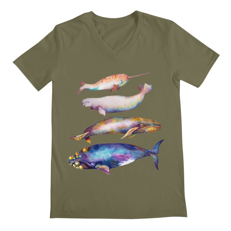 4 Watercolor Whales Men's Regular V-Neck by dotsofpaint threads